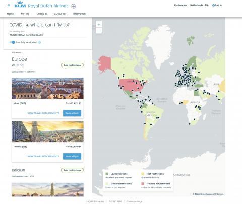 KLM kaart