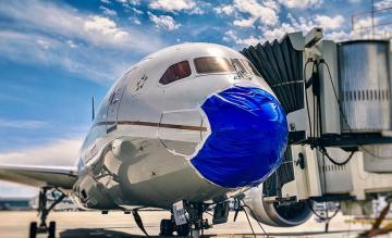 United Airlines 787 mondkapje